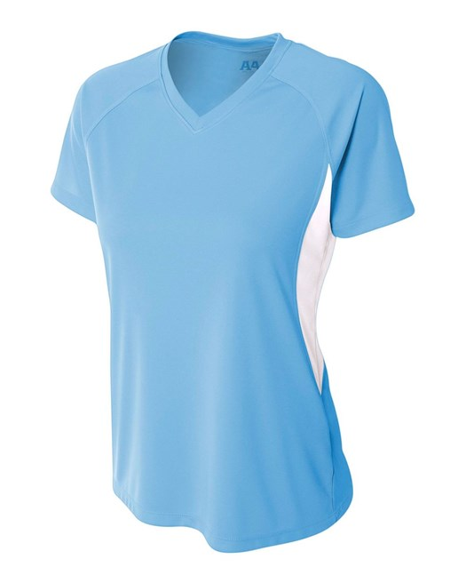 A4 Womens Color Block Performance V-Neck